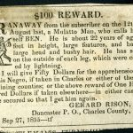 Advertisement placed for runaway slave named Ben, Doncaster, Maryland