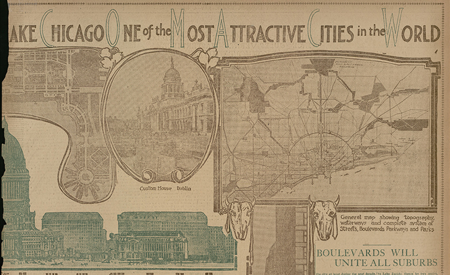 Newspaper page with Chicago landmarks and maps