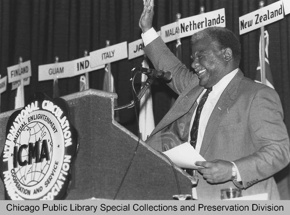 Harold Washington at podium
