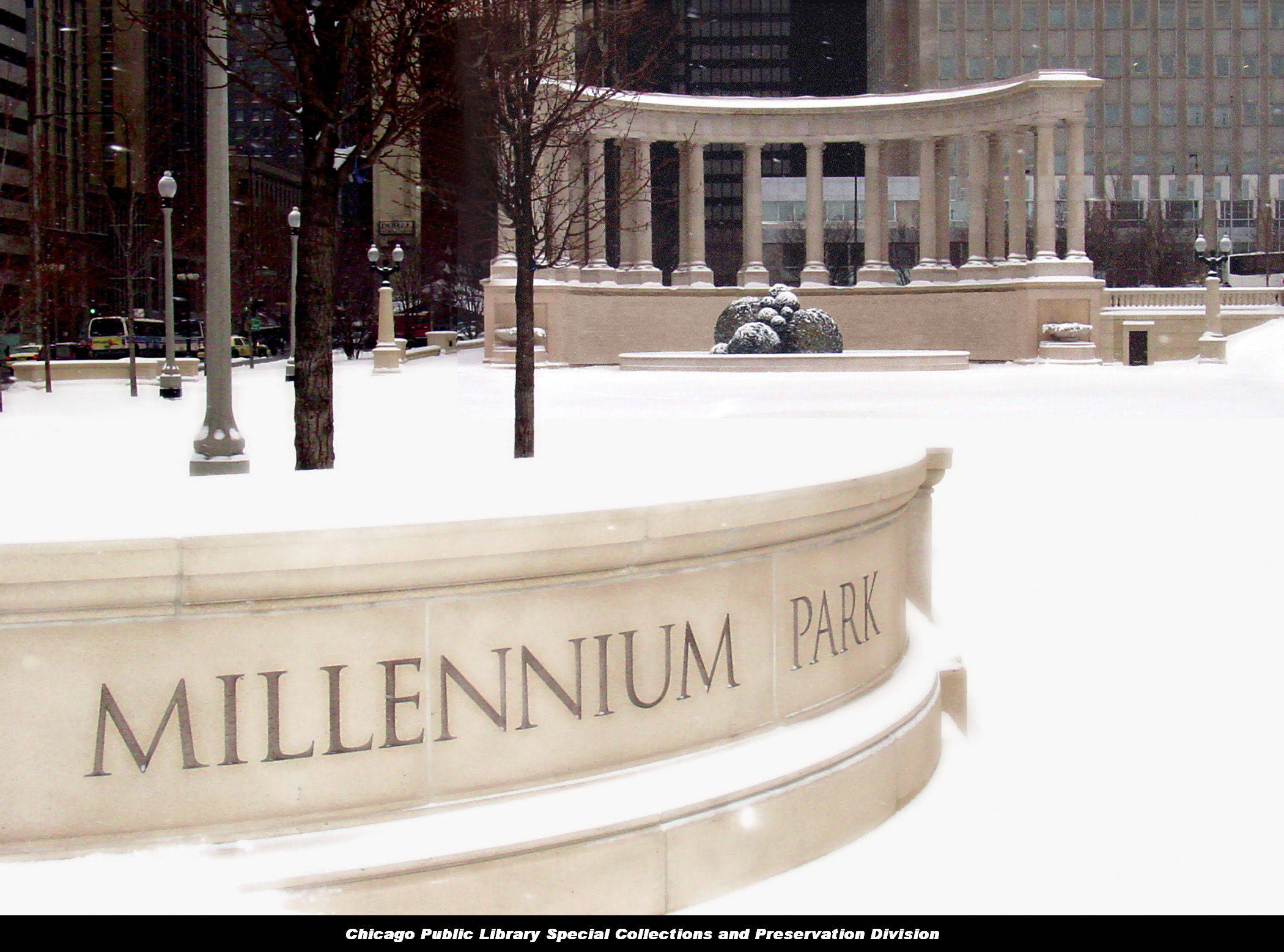 Millennium Monument at Wrigley Square, peristyle in winter, ca. 2003; photo courtesy of U.S. Equities Realty and the men and women who built Millennium Park