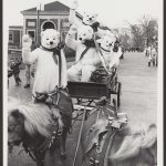 three people in polar bear costumes riding in a horse-drawn carriage