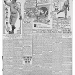 Newspaper page with baseball photos and cartoons