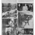 Newspaper page filled with photos showing boat and men at tables