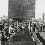 Launching a massive kite, Grant Park, 1977. Source: Chicago Park District Photographs, 031_022_019