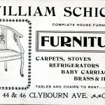 William Schick Furniture. Complete House Furnisher. Carpets, Stoves, refrigerators, baby carriages, brass and iron beds. Tables and chairs to rent. 44 & 46 Clybourn Ave., Chicago.