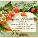 J.E. Webb, 338 North Ave., City, dealer in Sewing machines, paper patterns, thread, needles, oil and attachments. Repairing.