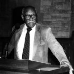 Timuel Black Jr. speaking, 1990s (Source: Harsh Research Collection, Timuel D. Black Jr. Papers, Photo 700)