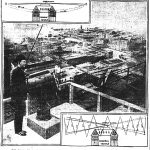 1904 election. Daily News employee on top of Masonic Temple ready to signal winner with patterns. Left-right if Roosevelt won. Up-down if Parker won.