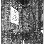 Drawing of crowd outside the Chicago Tribune office on an election night