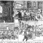 Drawings: four scenes at the newspaper offices preparing to report results of elections