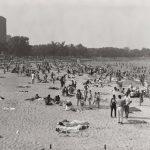Beachgoers, 57th Street Beach, Jackson Park, 1964. Source: Chicago Park District Photographs, 047_001_008