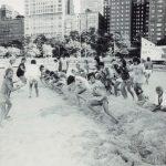 Tug-of-war, Leone Park Beach, circa 1980. Source: Chicago Park District Photographs, 053_035_007
