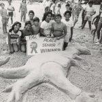 Sand sculpting contest, North Avenue Beach, Lincoln Park, 1982. Source: Chicago Park District Photographs, 070_018_022