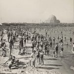 Beachgoers, 12th Street Beach, Northerly Island, 1936. Adler Planetarium in background. Source: Chicago Park District Photographs, 084_021_014