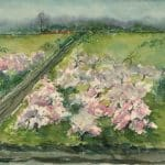 view of road and flowering trees, train in distance