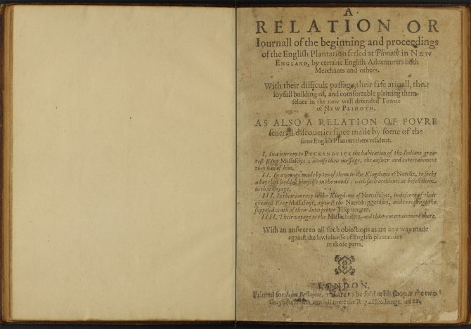 Title page of the BPL/Barlow copy of Mourt's Relation