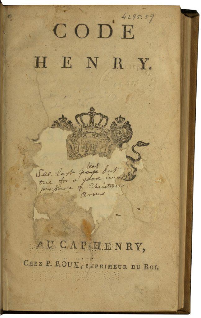 BPL/Hunt copy of the Code Henry (1812) BPL 4295.59