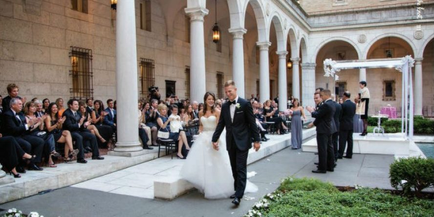 Lu & Greg's wedding in the Boston Public Library Courtyard, featured in The Knot magazine