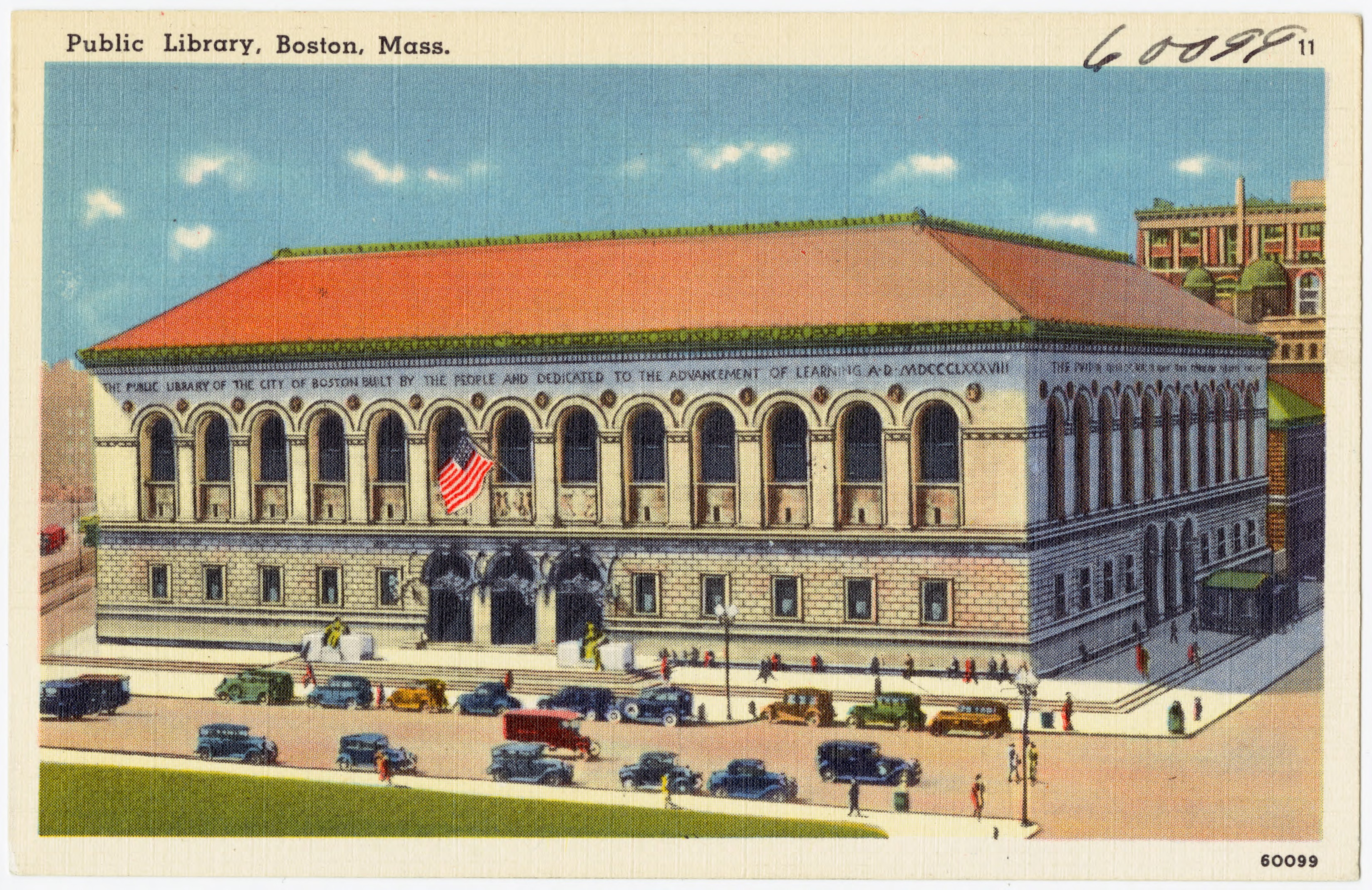 postcard featuring an illustration of the Boston Public Library