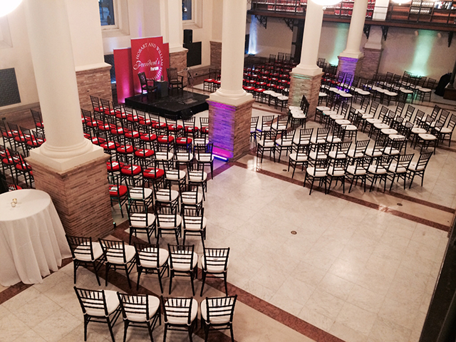 seating option for gustavino room meeting, ariel view