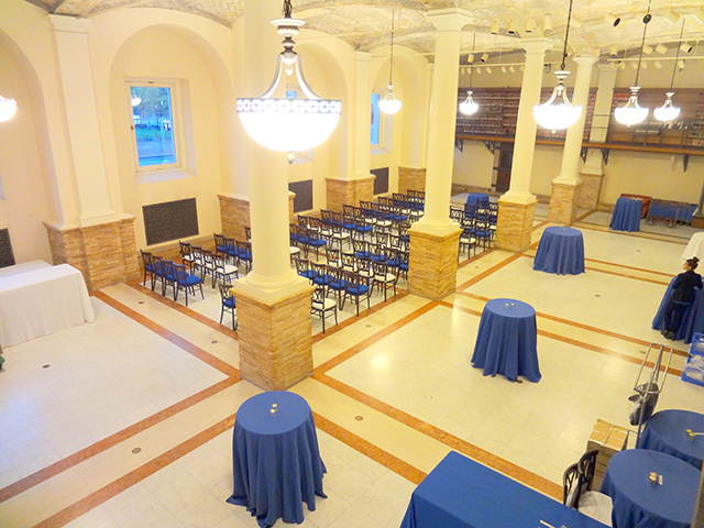 Set up of the Gustavino room for a meeting, ariel view