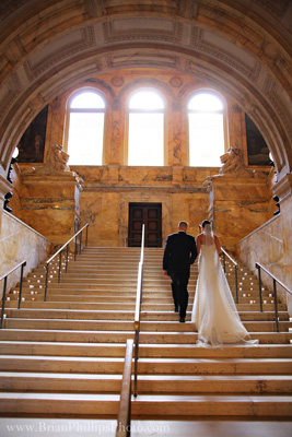 Erin Palank Wedding, Boston Public Library, Grand Staircase as viewed from the McKim lobby
