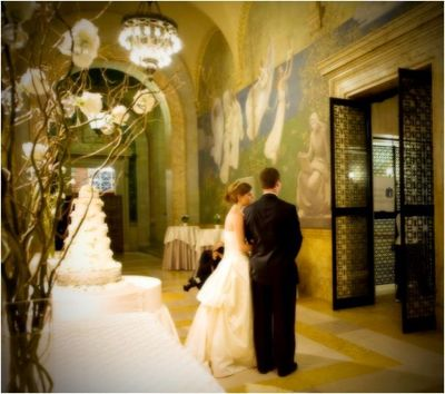 Entrance to Bates Hall from Chavannes Gallery; photo of bride and groom