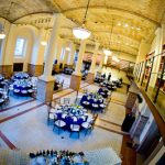 Photo of the Guastavino Room set up for an event, from above