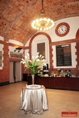 Photo of the map room cafe set up as a reception area