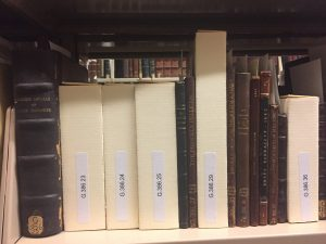 Image shows a shelf with leather bound books intermingled with several prefabricated cream colored enclosures complete with call numbers printed on their spines.