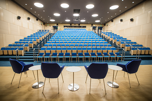 Photo of Rabb Hall seating, view from stage