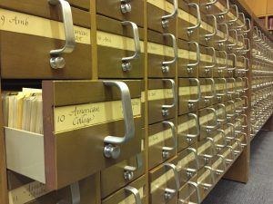 Printed card catalogs in the Rare Books Department