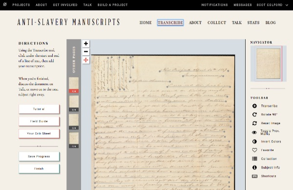 Online interface for anti-slavery manuscript transcriptions