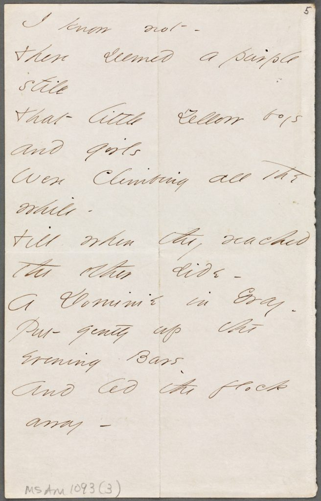 Page 2 of a poem from Emily Dickinson to Thomas Wentworth Higginson
