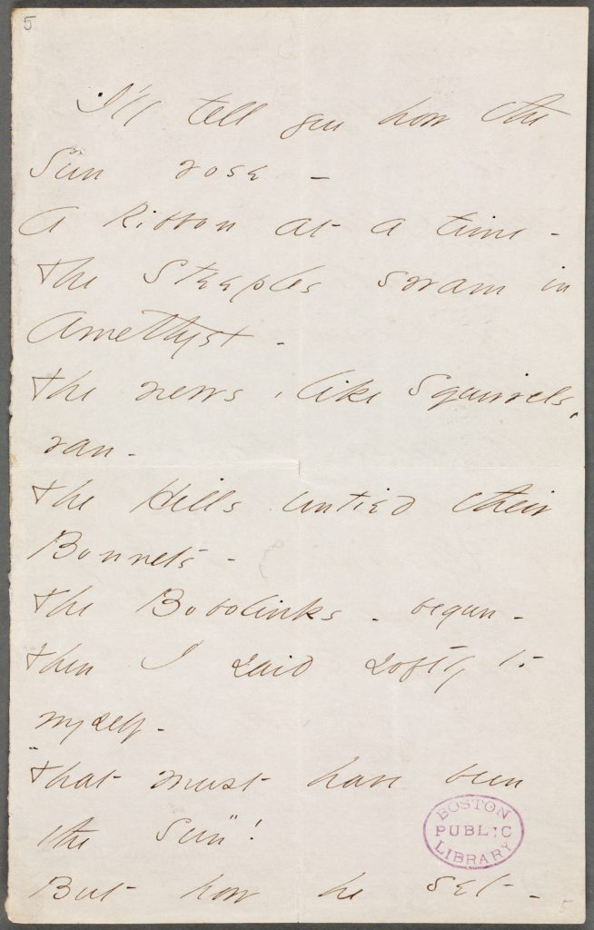 Page 1 of a poem sent from Elimily Dickinson to Thomas Wentworth Higginson