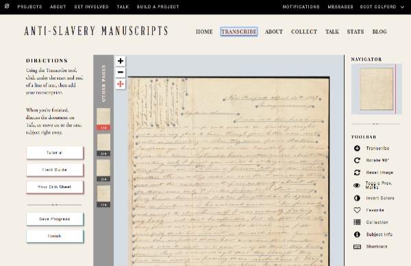 Online interface for anti-slavery manuscript transcriptions