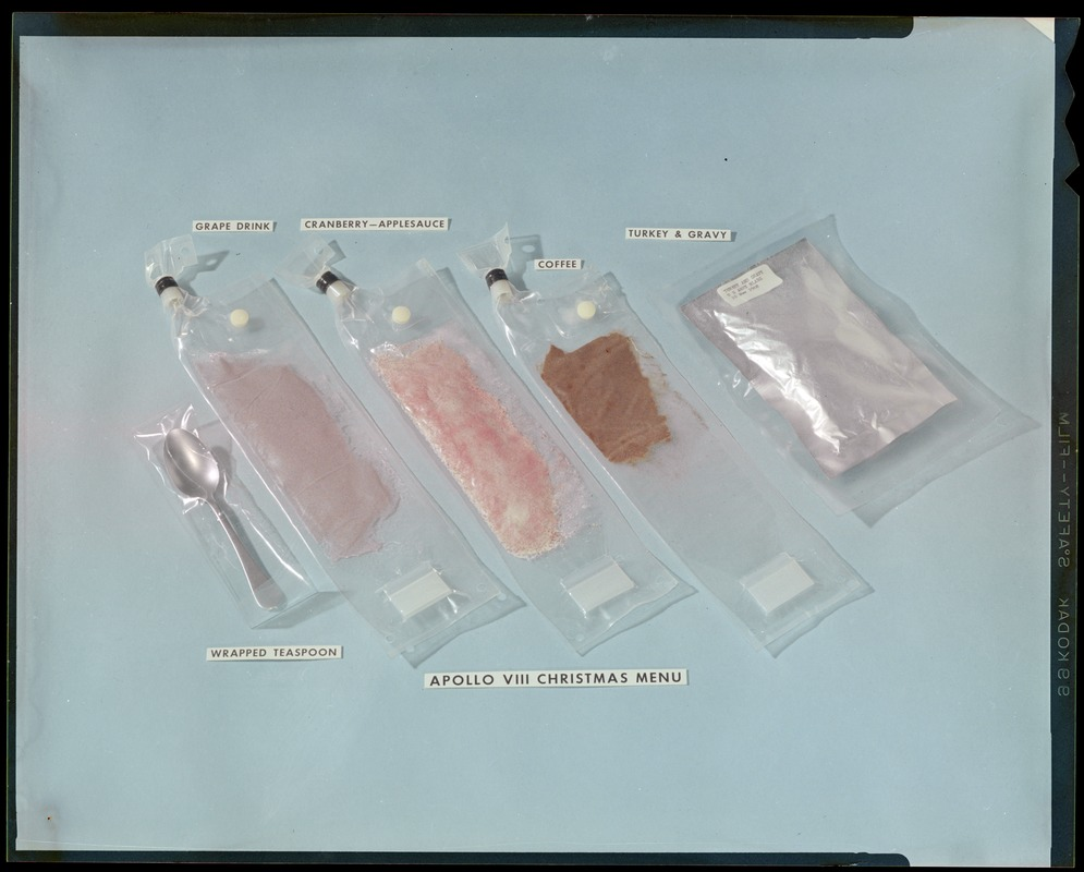 Display of the Christmas meal for the Apollo 8 astronauts