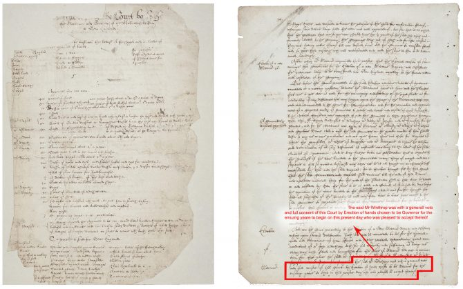 Two pages from the Court booke. (Above left) a list of provisions purchased for the colonists' voyage to New England. (Above right) a record of John Winthrop's first election to the governorship of the Massachusetts Bay Colony on Oct. 20th, 1629. (MS f Am. 2176) Click here to view the bibliographic record and to access the digitized copy.