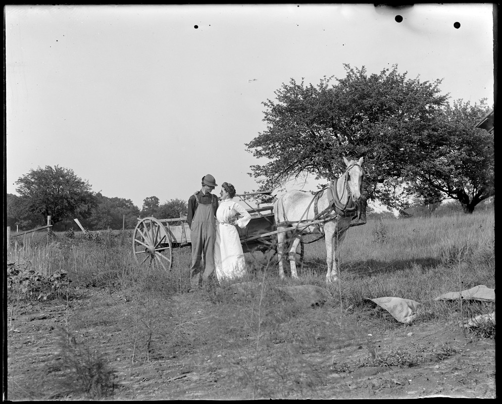 Man and Woman standing by Horse and Buggy