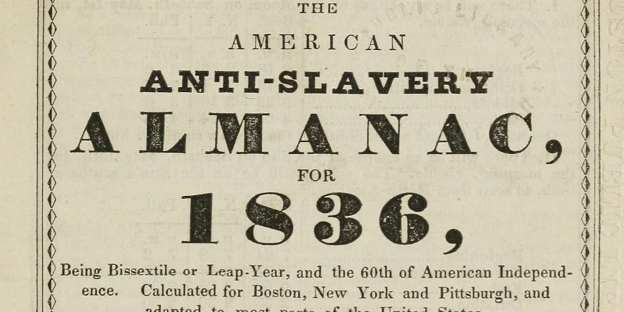 Illustration for the cover of the 1836 American Anti-slavery Almanac, which presents an idealized alternative to slavery