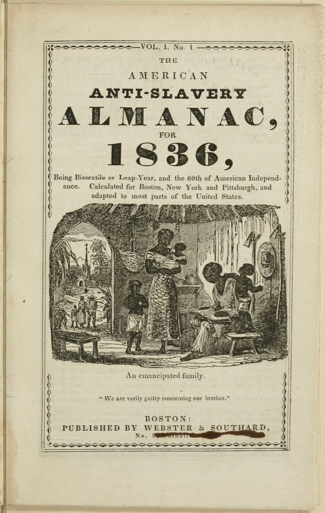 Digitized cover of The American Anti-Slavery Almanac for 1836, Volume one, number one