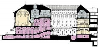Map of the McKim Building and different phases of the restoration