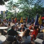 Outdoor summer drinks at Quincy Market, Boston, 1979