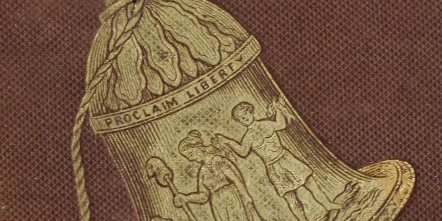 Close up of the Bell on the cover of the The Liberty Bell, a gift book at the Anti-slavery Fair
