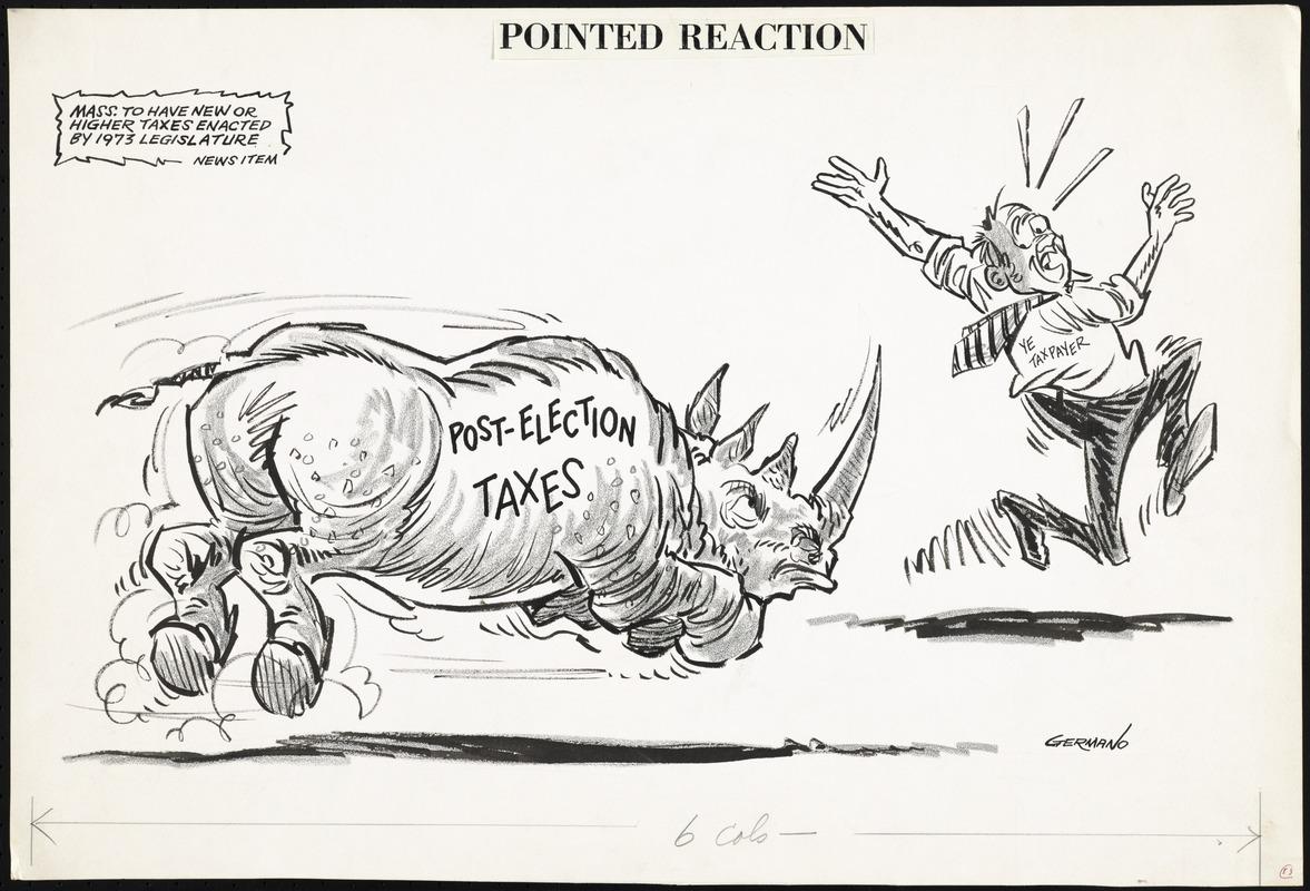 Political Cartoon of Rhino Chasing Man