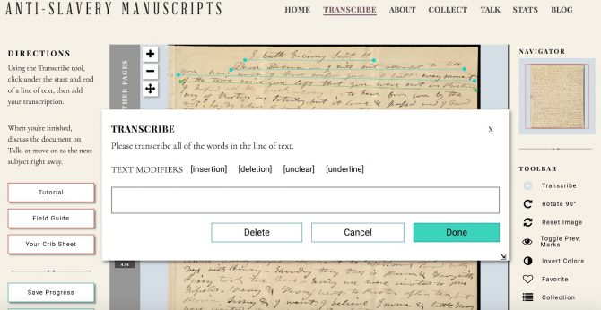 """View of the independent workflow in Zooniverse. This screenshot shows that a screen pops up asking you to transcribe all words you see, with no other previous work to guide you. In this version the results are aggregated together to make a """"best"""" version."""