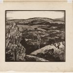 wood engraving of autumn foliage