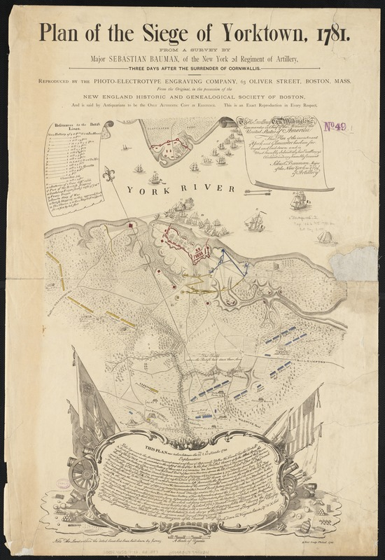 Plan of the Siege of Yorktown, 1781, map