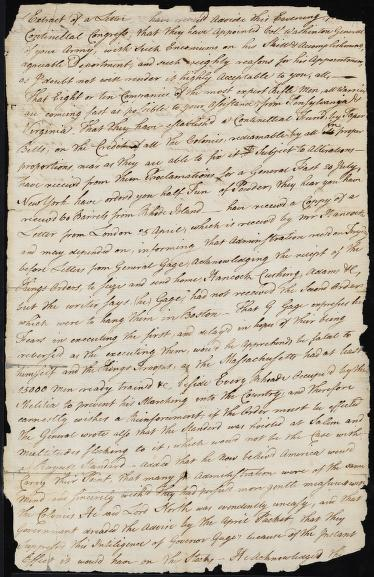 "The beginning of the letter reads, ""…have receiv'd advice this evening from the Continental Congress, that they have appointed Col. Washington General of your army…"" The letter continues to discuss the transition that will occur following George Washington's appointment."