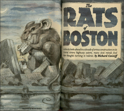 May 1989 Yankee magazine cover, showing a giant rat eating Boston
